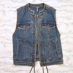 Free People distressed denim lace-up back vest